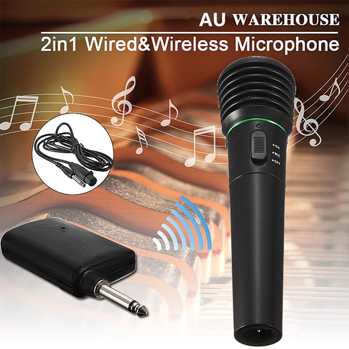 2 In1 Wired or Wireless Handheld Microphone Mic Receiver System Transmitter Undirectional Black