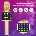 Wireless Bluetooth Karaoke Microphone with Multi-color LED Lights 4 In 1 Portable Handheld Karaoke