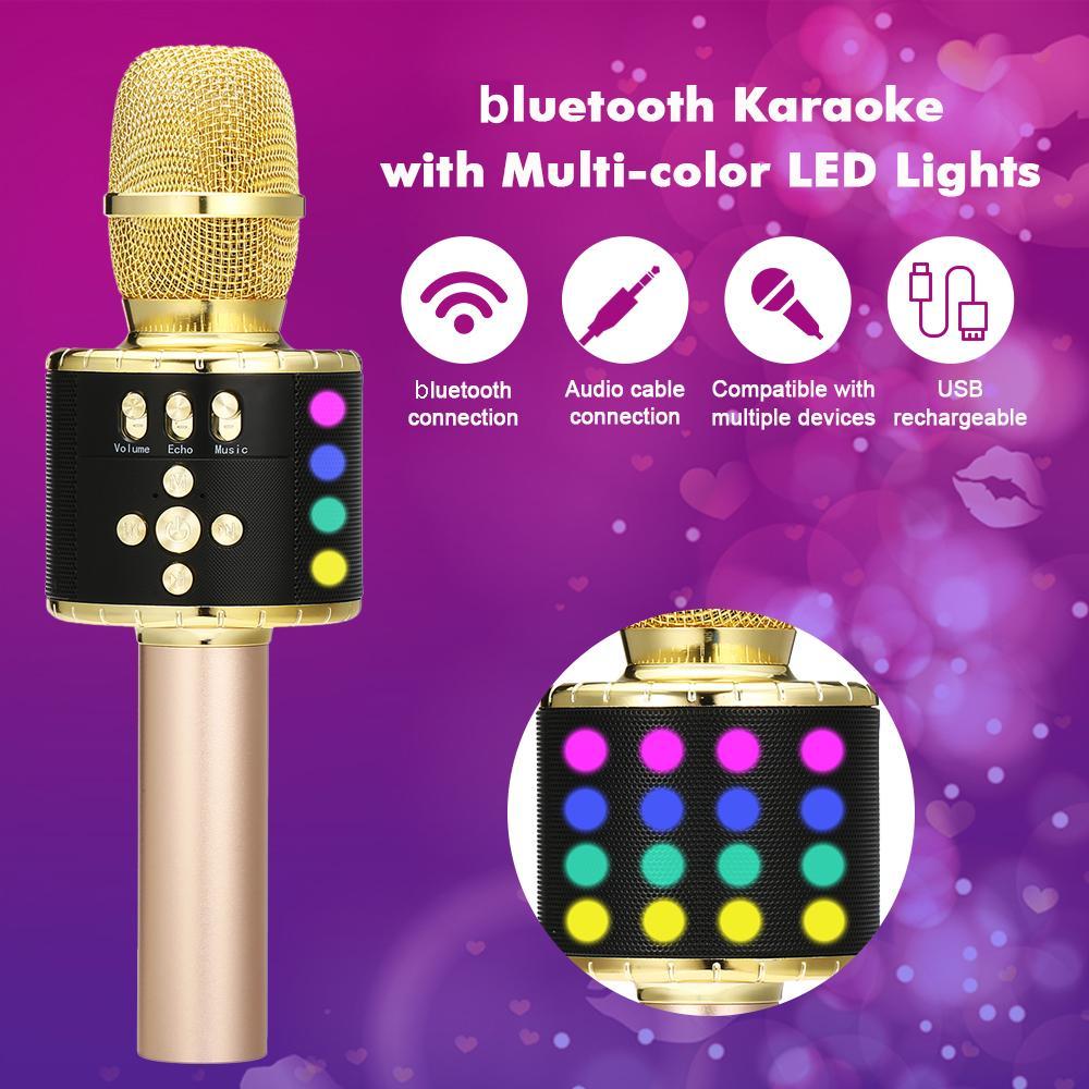 Wireless Bluetooth Karaoke Microphone with Multi-color LED Lights 4 In 1 Portable Handheld Karaoke