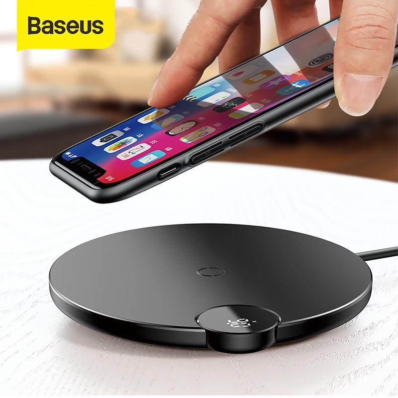 Baseus LCD Digital Display Wireless Charger for iPhone XS Max XR X Wireless Charger Pad for Samsung