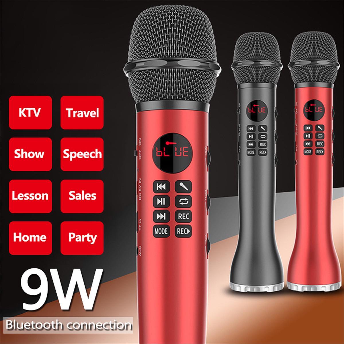 9W 2000Mah Portable Wireless Bluetooth Microphone Speaker Record Card Karaoke Handheld Microphones