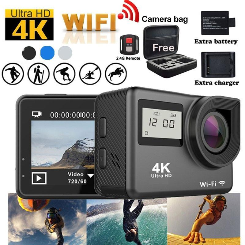 4K Touchscreen Action Camera WiFi Dual Screen 12MP Waterproof Sport Camcorder 170° Wide Angle Lens
