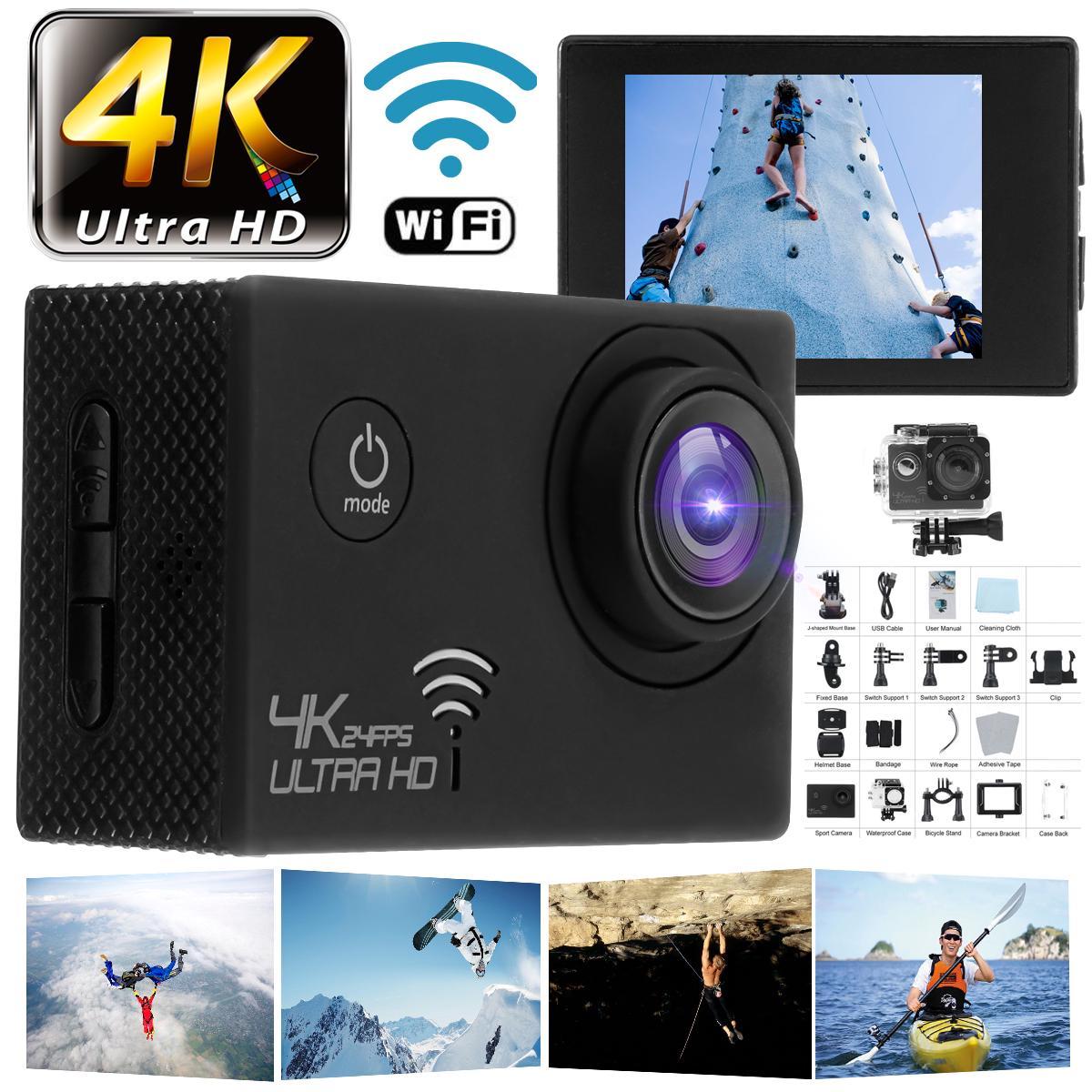 "Action Camera HD 4K / 30fps WiFi 2.0"" 170D Underwater Waterproof Helmet Video Recording Sport Cam"