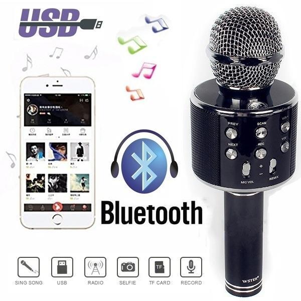 2WS-858 Wireless Bluetooth Karaoke Handheld Microphone USB KTV Player Mic Speaker Record
